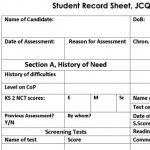 Student Record Sheet, Access Arrangements